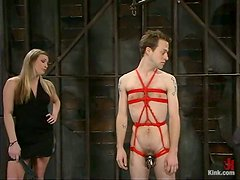 Blonde Dominatrix Is In Charge When She Wears A Dildo Harness!