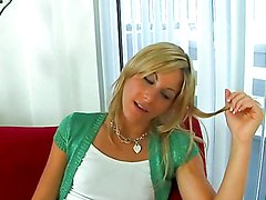 Nasty blonde gets her tight gash stuffed