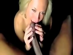 Blond girl deep throats a huge BBC