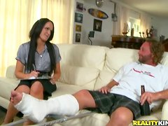 Hot Bobbi Brixton gets fucked by a dude with broken leg