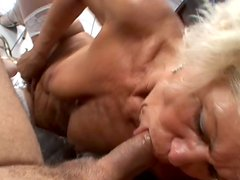 Disgusting old granny is giving sloppy blowjob before fucking hard doggy style. POV
