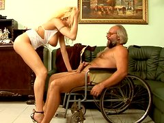 Stunning blonde girl is sucking dick of old grandpa