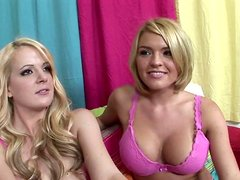Hot blondes Anita Blue and Krissy Lynn get ready for a threesome fun