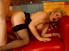 Mature granny with hairy pussy gets fat facial cumshot after hardcore doggy fuck