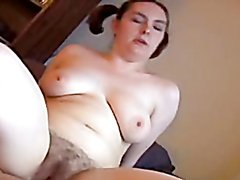 Hairy pussy bitch with large tits gets fucked
