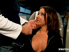 Slutty Amy Cameron gets fucked remarcably well in a bus