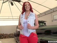 Redhead Kelly Divine fucks like a wild animal and gets facialed