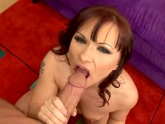 Sexy mature mommy Katja Kassin gives a head in POV