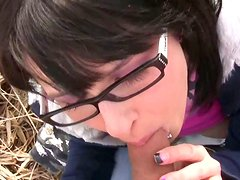 Four eyed bitch Shelly is sucking hard ding outdoor