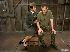 Dominatrix Plays With Her Sex Date Some Military Tricks!