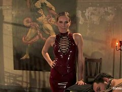 Blonde Maitresse Madeline Strapon Fucking and Dominating Two Guys