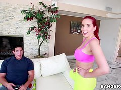 Redhead Kelly Divine gives sloppy blowjob and rides big cock