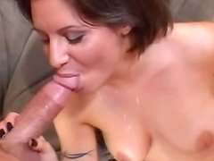 Brunette moans while getting her pussy licked and drilled
