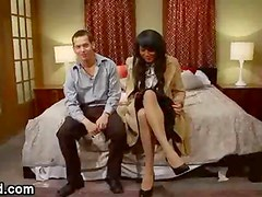 Handcuffed bdsm guy ass fucked by tranny in bed