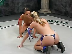 Chicks wrestle naked & have sex with strapon