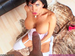 Brunette mom Tara Holiday blows and gets her mouth filled with cum