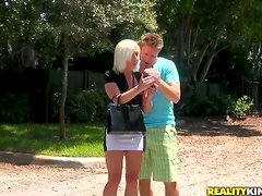 Big Cock Banging for Blonde MILF Peyton Rae's Pussy and Throat