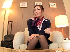 Blowjob and titjob from a petite Japanese stewardess