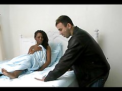 Ebony skank gets her gash stuffed with dick