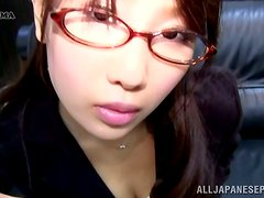 Japanese Girl in Glasses Showing Her Panties Upskirt in the Office