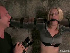 Blond angel gets hogtied and fucked doggy style!
