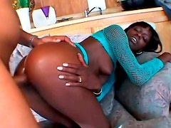 Slender black chic gets her asshole fucked doggy and missionary styles