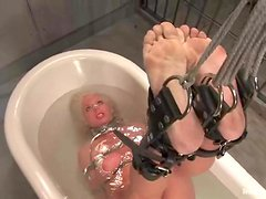 Bounded Tamra Toryn gets tortured in a prison ward
