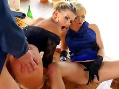 Clothed glamour fuck suck and cumshot trio