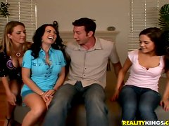 Three passionate chicks have wild CFNM sex with a guy