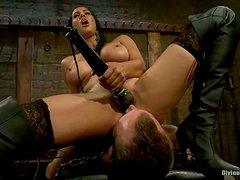 Busty Isis Love Playing with Guy in Bondage and Pegging Femdom Vid