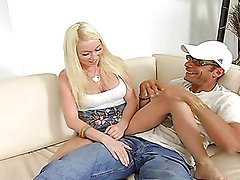 Sexy blonde teen's fucked hard by a monster cock