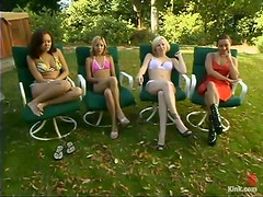 Amazing Outdoors BDSM Orgy with Submissive Chicks Fucked by Boys and Girls
