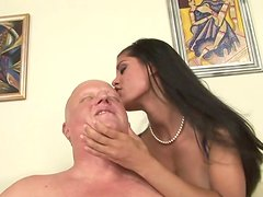 Appetizing and horny brunette nymph gives head and gets her pussy eaten