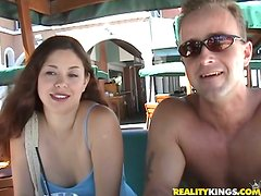 Amazing brunette Veila helps him out with a condom