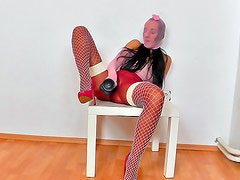 Dirty babe in pantyhose solo
