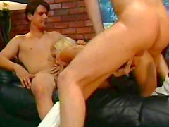 Hot blonde smashed in threesome