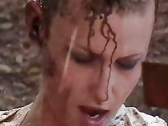 Candi Apple Shaved Head and Buttfucked in the Mud