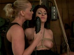 Horn-mad slender blondie ties up brunette and smacks her big ass up
