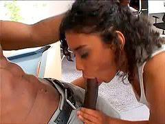 Curly black booty nympho switches from billiard to sucking BBC for cum