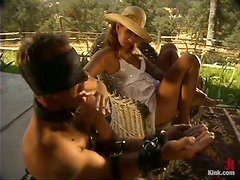 Pegging and Spanking Outdoors Action in Femdom Vid with Isis Love