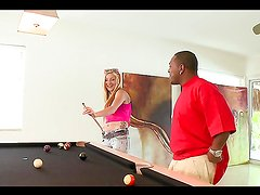 Kinky blonde teen's nailed by a monster black cock after a pool game