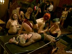 Cheyenne Jewel and Jessie Cox play BDSM games in a hot group scene