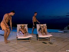 Aliz and Kristi Lust enjoy ardent foursome sex on the poolside
