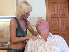 Tall and leggy blonde whore gets her pussy licked by an old fart