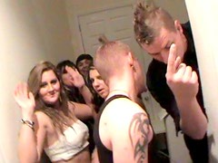 Couple of young sex greedy folks cloister in bedroom during student party