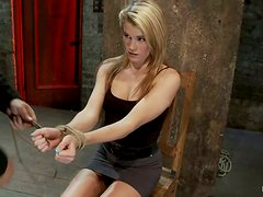 Slender blondie gets suspended and tortured pretty hard