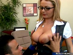 Busty blonde Alexis May enjoys ardent multiposition sex in an office