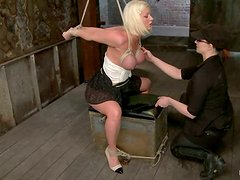 Cherry Torn gets tied up and fucked with a dildo in BDSM clip