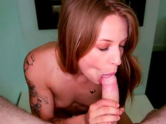 Green eyed nympho gives her lover one hell of a blowjob
