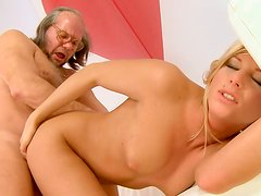 Old grandpa Albert drills tight pussy of blonde babe